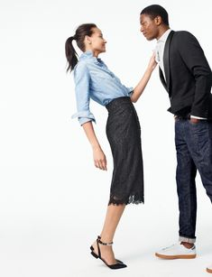 J. Crew Always Chambray Shirt, Pintucked Pencil Skirt in Lace and Satin Jeweled Ankle-Strap Flats