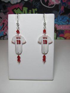 Cincinnati Reds 1B Joey Votto Jersey Dangle Earrings by HokeyDonut, $12.00