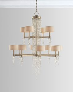 John-Richard Collection Cascading Crystal Waterfall 12-Light Chandelier