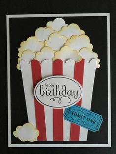 Popcorn Birthday Card by HandmadeByElaineW on Etsy