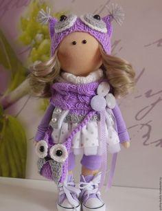 Купить Текстильная куколка-малышка Софушка - сиреневый, кукла ручной работы, кукла текстильная