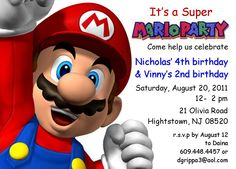 Super Mario Birthday Party Invitation