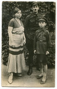 Cute Russian Soviet boy in military-style school uniform with dad in uniform and mom, fashion shorts summer ORIGINAL vintage photo by PhotoMemoriesLane on Etsy