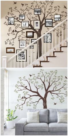 Add A Photo Frame Family Tree Wall Decal To Your Hoarbolme Family Tree Decal, Family Wall Decor, Tree Decals, Family Tree Frame, Tree Wall Stencils, Family Tree Photo, Photo Tree, Family Trees, Family Photo Frames