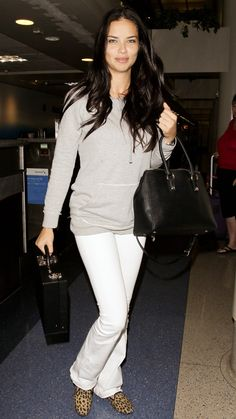 Jet-Set in Style: 59 Celebrity-Inspired Outfits to Wear on a Plane - Adriana Lima from #InStyle