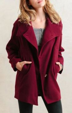 Long Sleeve Loose-Fitting Coat in Wine Red ♥ Great color!
