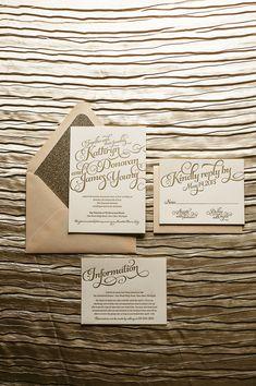 Blush Gold Wedding Invitation Gold Glitter by FlairNecessities