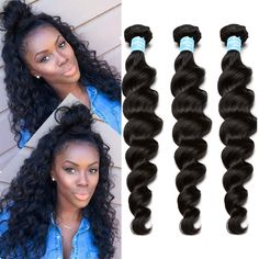 Malaysian Virgin Hair 3pcs Malaysian Loose Wave Human Hair Weave Extensions 8A Malaysian Curly Hair Rosa Queen Hair Products <3 Click the image for detailed description
