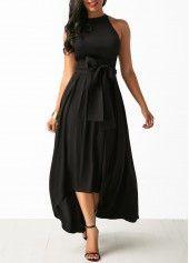 Asymmetric Hem Black Belted Dress and Cardigan on sale only US$34.42 now, buy cheap Asymmetric Hem Black Belted Dress and Cardigan at liligal.com