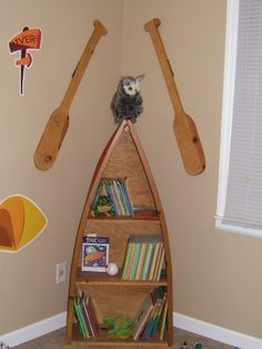 Camping theme room.. The boys need a shelf like this!