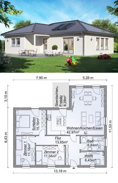 Angular bungalow prefabricated house SH 115 WB with hipped roof – ScanHaus Marlow Sims House Plans, Dream House Plans, Modern House Plans, Modern House Design, Modern Bungalow House, Bungalow House Plans, House Construction Plan, Architectural House Plans, Prefabricated Houses