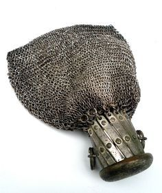 Early 1900's reticule silver chatelaine mesh chain-metal bag / coin purse made in Germany.