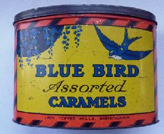 Large Colourful Vintage Art Deco Blue Bird Assorted Caramels Tin  Made at the Lion Toffee Mills in Birmingham.