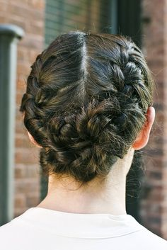 #Fall #hairstyle idea: Twist two braided plaits into a bun to create a lovely flower-like shape. More (easier) styling ideas here: http://www.esalon.com/blog/5-minute-hairstyling-tricks/ #haircolor #style #grayhair