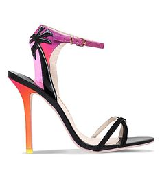 Sophia Webster - Malibu sunset patent-leather, suede and satin heeled sandals - Pina colada please!