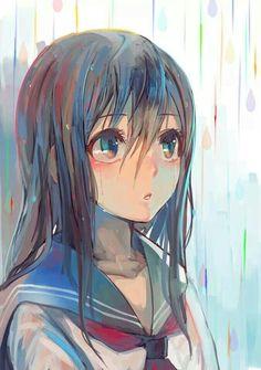 Standing in rain. Art.