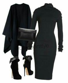 All black winter fashion attire