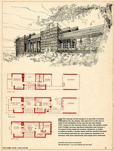 Vintage House Plans, Modern House Plans, House Floor Plans, Usonian House, Mcm House, Weekend House, House Blueprints, Cabin Plans, Architecture Plan