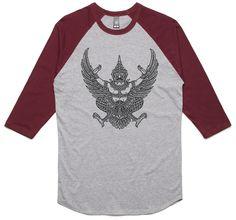 theIndie National emblem of Thailand (Black) 3/4-Sleeve Raglan Baseball T-Shirt