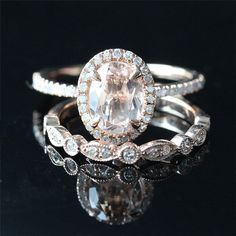 Morganite Bridal Ring Set Of 6x8mm Oval Morganite Pave Diamonds Engagement Ring and Diamond Matching Band - Vogue Gem