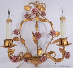 Vintage ITALIAN Gold GILT Tole WALL Sconce HOLLYWOOD Regency PINK Porcelain ROSE