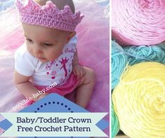 Baby or toddler crown. Free crochet pattern at http://poochie-baby.com