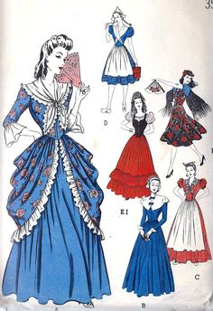 1940s Misses Costume Vintage Sewing Pattern