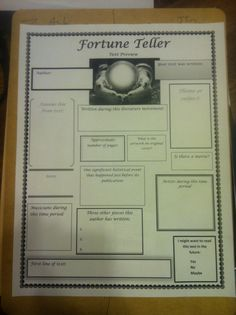 "Bell Ringer activity for middle school/high school English classes. ""Fortune Teller"" offers an opportunity for text awareness of books/essays/short stories that you may not get around to in class! Just write the text's name in the crystal ball and have the kids Google away!"