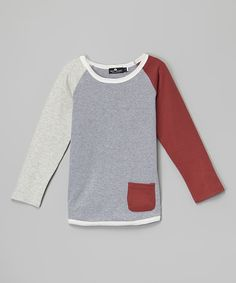 Look at this Troy James Gray & Red Raglan Pocket Tee - Infant, Toddler & Boys on #zulily today!