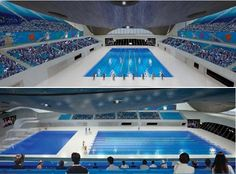 the olympic aquatic centre design by zaha hadid for the 2012 olympics in london has been modified  from its original design (pictured above). building reports that new images of the design display large  temporary seating structures on each side of the facility. due to cutbacks the temporary seating is  being added to provide needed seats for the games and will be removed when the building is  transformed for regular use.