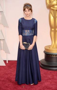 #oscarfashion Agata Trzebuchowska arrives at the 87th Academy Awards on February 22, 2015 in Hollywood.