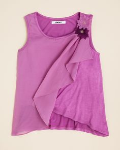 DKNY Girls' Orchid Ruffle Tank - Sizes S-XL | Bloomingdale's