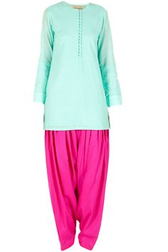 Aqua and fuschia kurta set available only at Pernia's Pop-Up Shop.