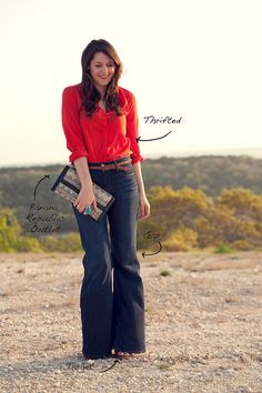 Flares and red shirt