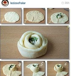 another way for a nice pastry piece recipes savory Bread Shaping, Bread Art, Good Food, Yummy Food, Snacks Für Party, Italian Cookies, Bread And Pastries, Turkish Recipes, Creative Food