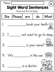 Sight Word Sentences: Fill-in-the-Blanks by LearnersoftheWorld | TpT