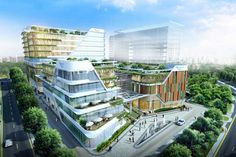 The concept design for Yishun Community Hospital promotes innovation in health education and training, while providing a tranquil healing environment. Concept Architecture, Futuristic Architecture, Facade Architecture, Modern Hospital, New Hospital, Hospital Plans, Mix Use Building, Building Design, Community Hospital