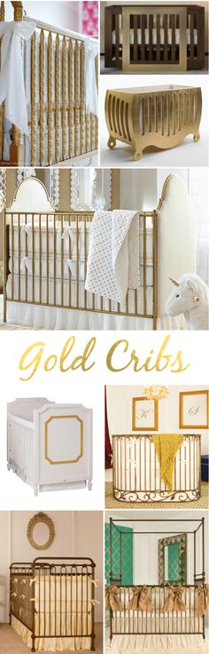 Gold Cribs - gold in the nursery is trending and we love a bold, GOLD crib!