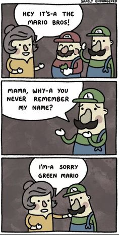 Funny pictures about Mario's Mother. Oh, and cool pics about Mario's Mother. Also, Mario's Mother photos. Safely Endangered, Rage Comic, Whatsapp Videos, Spanish Jokes, The Meta Picture, Funny Quotes, Funny Memes, Funniest Memes, Cartoon Memes