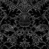 William Morris ~ Growing Damask ~ Black and White by peacoquettedesigns, Spoonflower digitally printed fabric