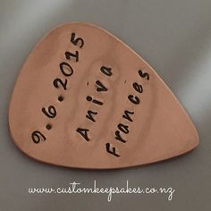 Custom Stamped Guitar Pick in copper.  Also available in brass and sterling silver.  Shop via the link in my bio. #customkeepsakesnz #thehivenz #nzmusic #music #nzband #nzrock #guitar #plectrum #giftsforhim #giftsfordad #nnzmo #networknz #bluxeenz