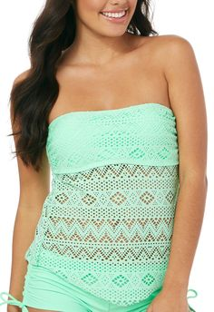Since Juniors Spring Crochet Bandeau Tankini Top  Mint green amazon $18