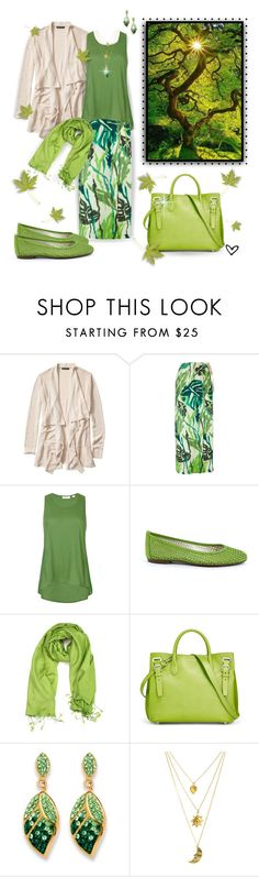 """""""~Palm Beach~ Crystal Leaf Earrings & Necklace ~"""" by justwanderingon ❤ liked on Polyvore featuring Banana Republic, Erika Cavallini Semi-Couture, sass & bide, French Sole FS/NY, Ralph Lauren and Palm Beach Jewelry"""