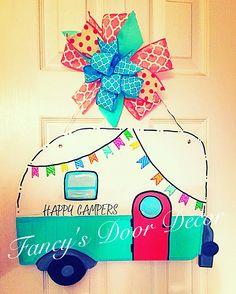Made by Felicia Brown @ Fancys Door Decor (FB) Wooden Door Signs, Wooden Doors, Wood Signs, Painted Doors, Painted Signs, Camper Signs, Burlap Door Hangers, Wooden Cutouts, Front Door Decor