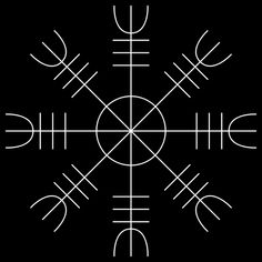 """Helm of Awe Ægishjálmr:  The Helm of Awe (Old Norse Ægishjálmr, pronounced """"EYE-gis-hiowlm-er"""") is one of the most mysterious and powerful symbols in Norse mythology. Just looking at its form, without any prior knowledge of what that form symbolizes, is enough to inspire awe and fear: eight arms that look like spiked tridents radiate out from a central point, as if defending that central point by going on the offensive against any and all hostile forces that surround it."""