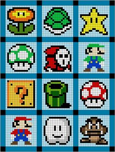 Super Mario quilt or cross stitch patterns! Cross Stitching, Cross Stitch Embroidery, Cross Stitch Patterns, Knitting Patterns, Geek Cross Stitch, Knitting Charts, Crochet Patterns, Hama Beads Design, Hama Beads Patterns