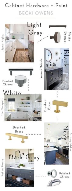 Kitchen Hardware. The right hardware finish for your cabinet color. Cabinet Hardware and Paint Color Guide. Becki Owens.