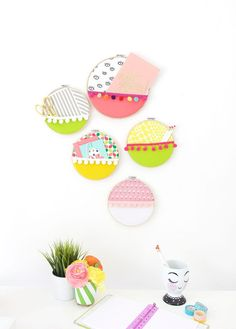 Easy Embroidery Hoop Wall Pockets