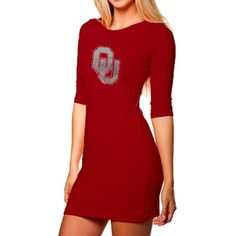 Oklahoma Sooners Ladies Crimson Fitted Rhinestone Half Sleeve Dress