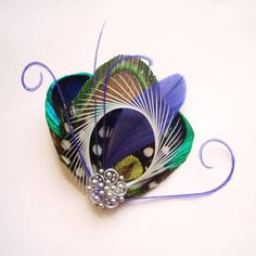 Peacock feather clip or pin